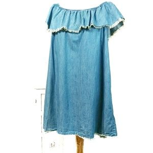 Mossimo Chambray Off The Shoulder BabyDoll Dress